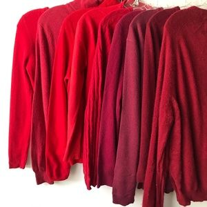 100% Cashmere Cutter Lot of 9 Red Fabric #S5